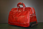 Leather travel trolley large