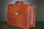 Multi-compartment leather briefcase